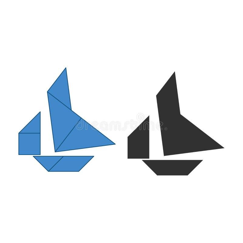 Rompecabezas chino del barco Rompecabezas chino tradicional de la disecci?n, siete pedazos que tejan - formas geom?tricas: tri?ng ilustración del vector