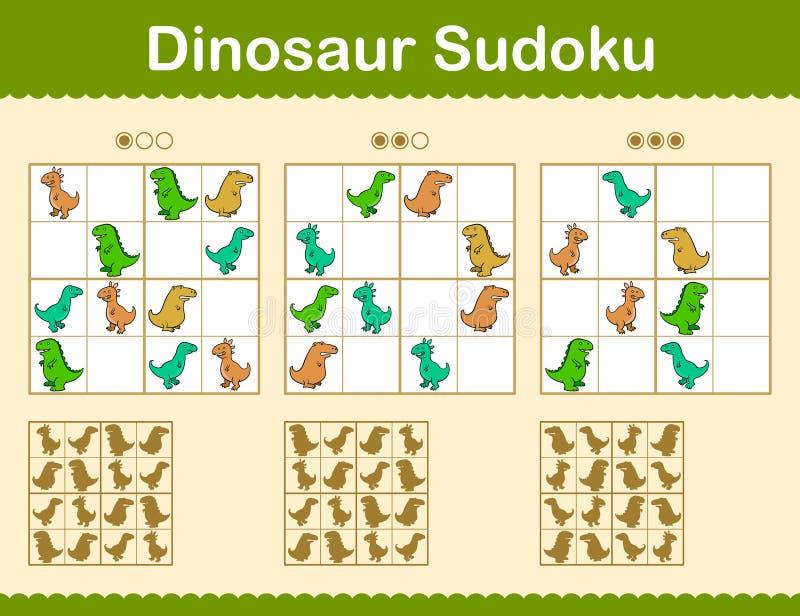 Rompecabezas coloridos del sudoku con los dinosaurios de la historieta libre illustration