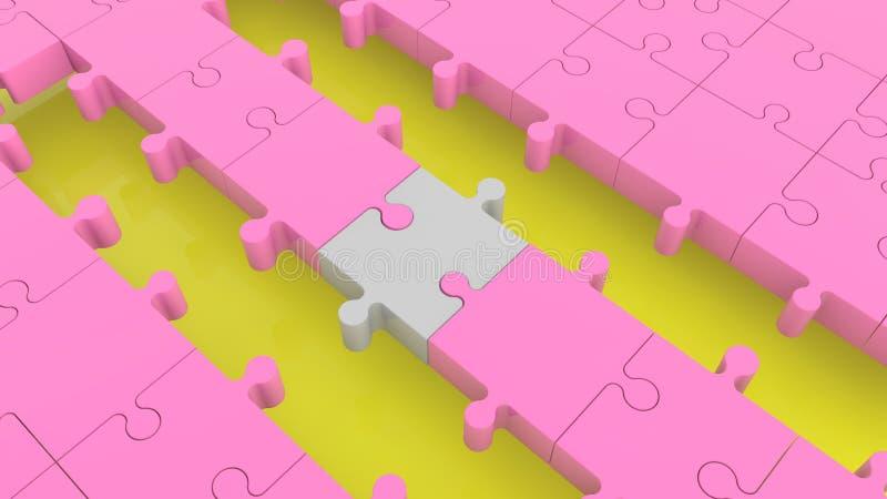 Rompecabezas con filas vacías en rosa y colores grises stock de ilustración