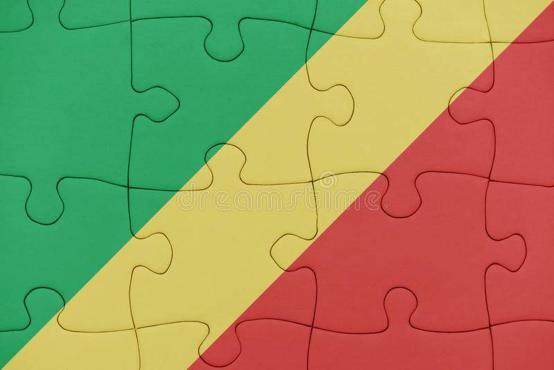 Rompecabezas con la bandera nacional del República del Congo imagen de archivo