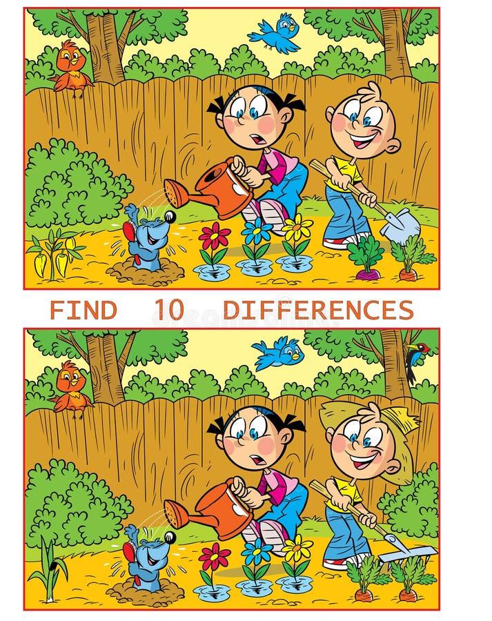 Rompecabezas con los niños de trabajo en el jardín ilustración del vector