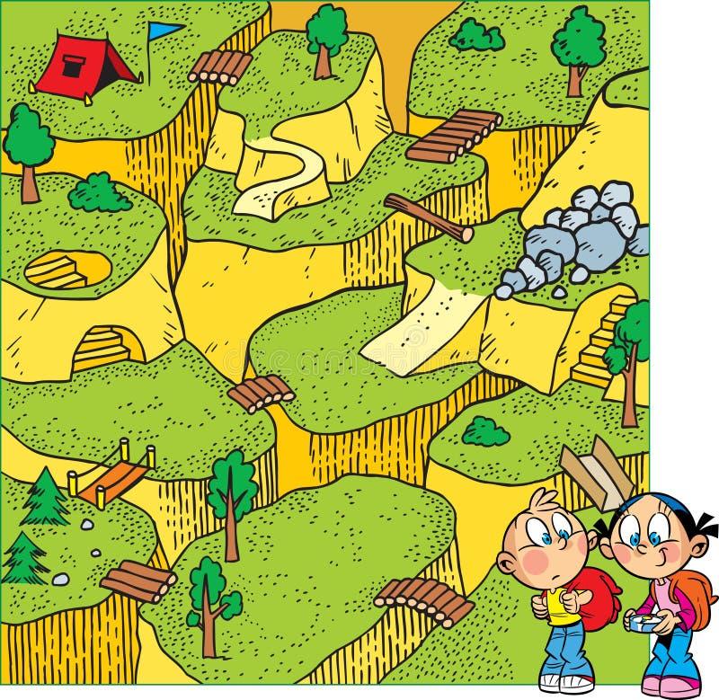 Rompecabezas con los niños que están caminando ilustración del vector