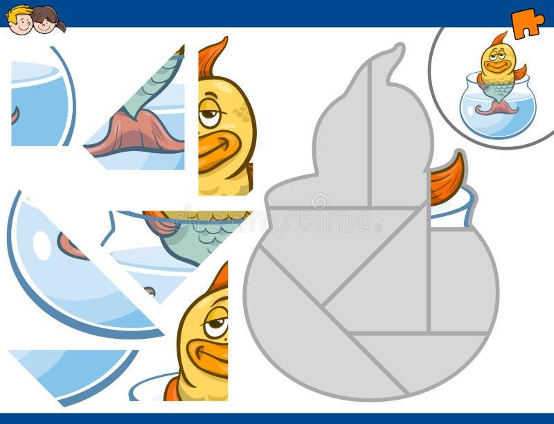 Rompecabezas con los pescados del oro stock de ilustración