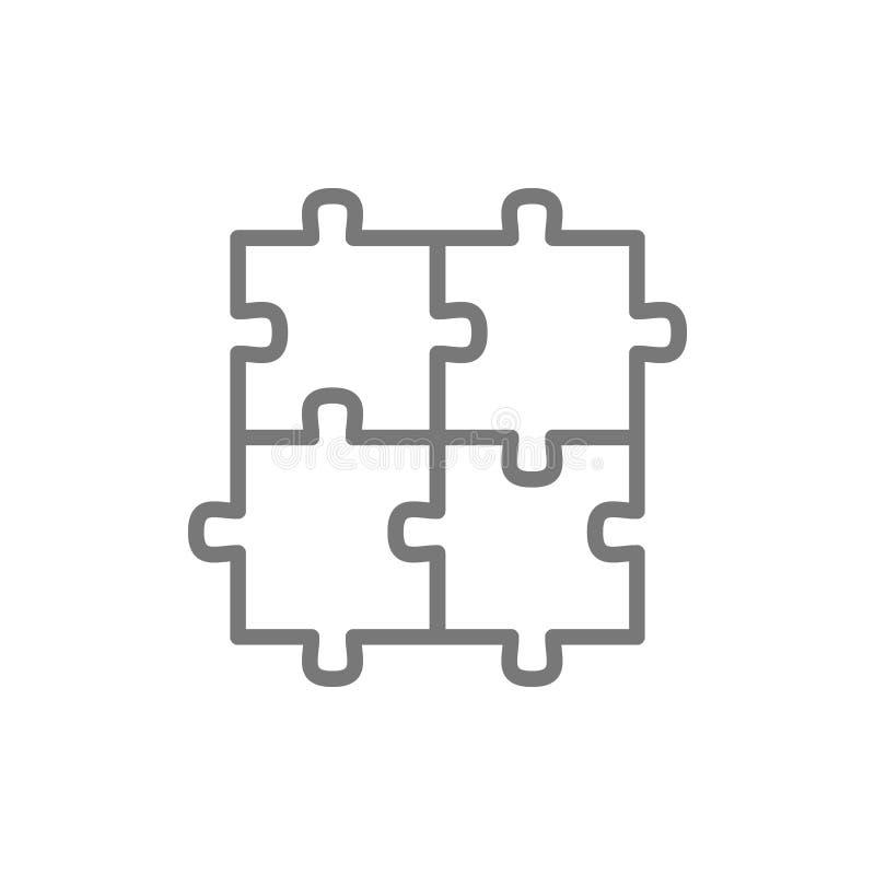 Rompecabezas, rompecabezas, cuadrado, integridad, l?nea icono de la soluci?n de problemas stock de ilustración