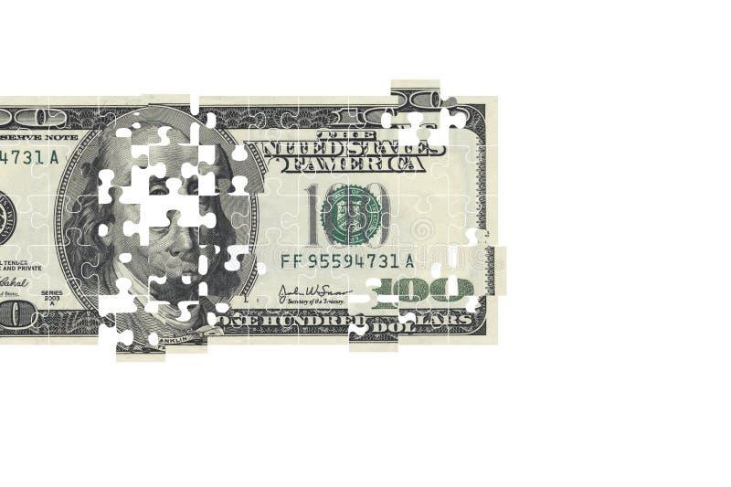 Rompecabezas de cientos billetes de banco del dólar de EE. UU. fotos de archivo