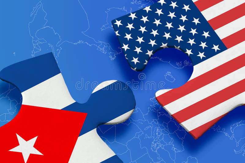 Rompecabezas de Estados Unidos Cuba stock de ilustración