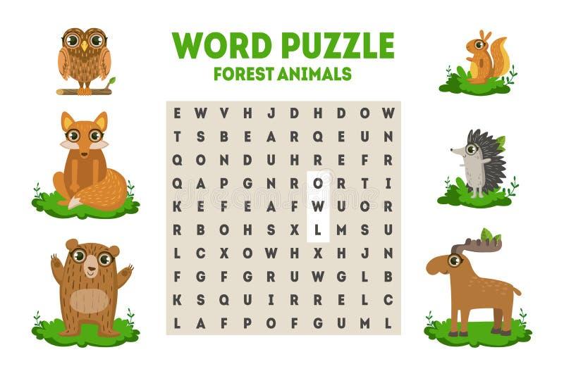 Rompecabezas de la búsqueda de la palabra con Forest Animals, juego educativo para el ejemplo del vector de los niños stock de ilustración
