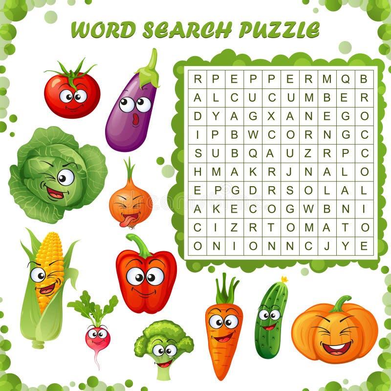 Rompecabezas de la búsqueda de la palabra Juego de la educación del vector para los niños Emoticons de las verduras de la histori libre illustration