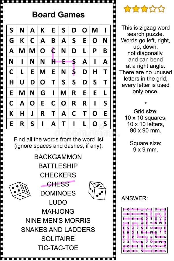 Rompecabezas de la búsqueda de la palabra de los juegos de mesa stock de ilustración