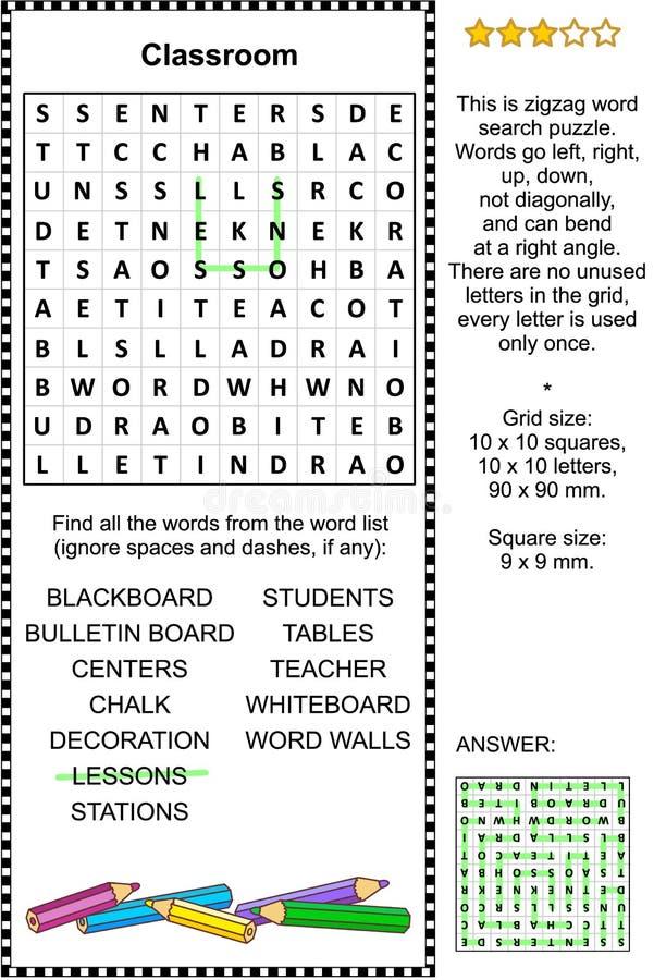 Rompecabezas de la búsqueda de la palabra de la sala de clase ilustración del vector
