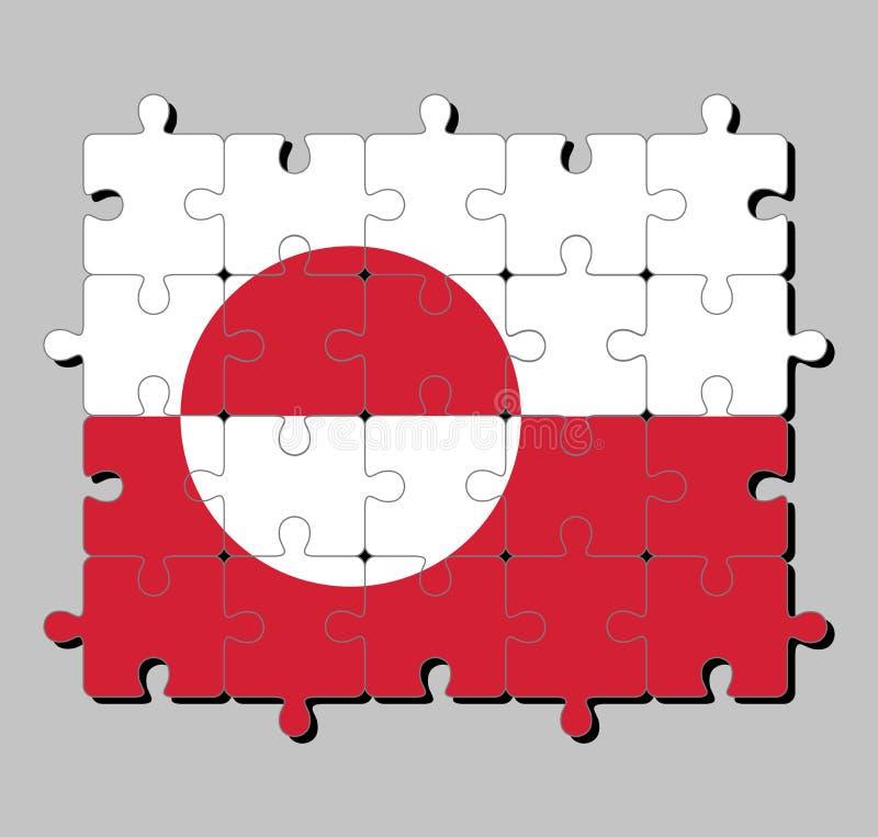 Rompecabezas de la bandera de Groenlandia en el color blanco y rojo con un disco counterchanged levemente excéntrico hacia el alz libre illustration