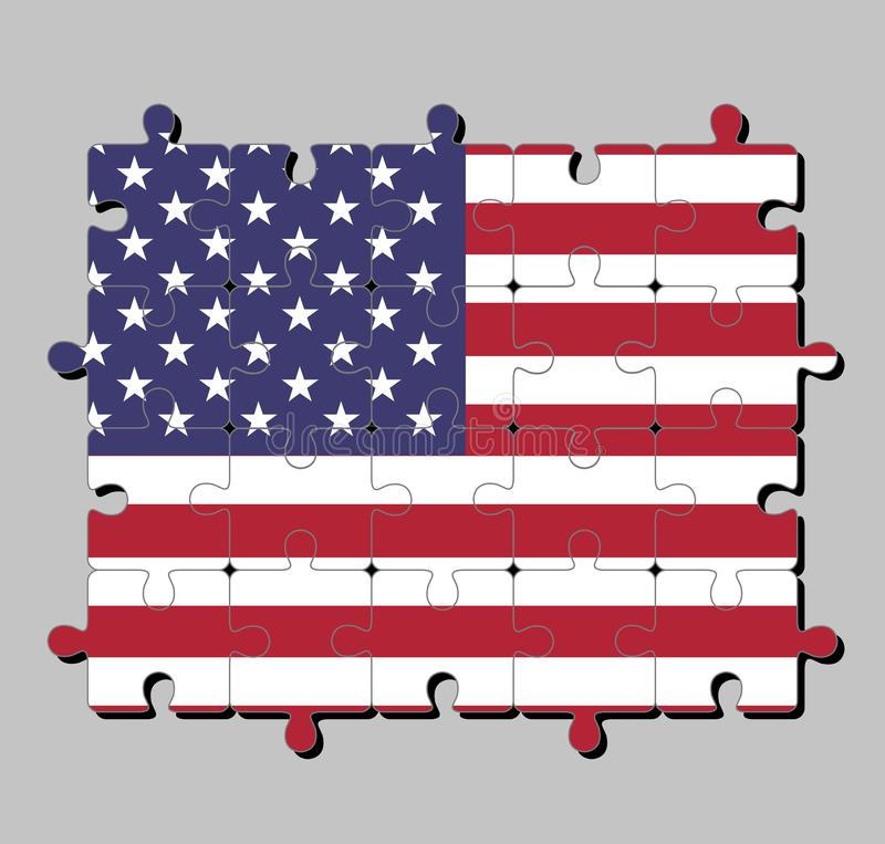 Rompecabezas de la bandera de los Estados Unidos de América en rayas horizontales de rojo y de blanco con cincuenta estrellas bla libre illustration