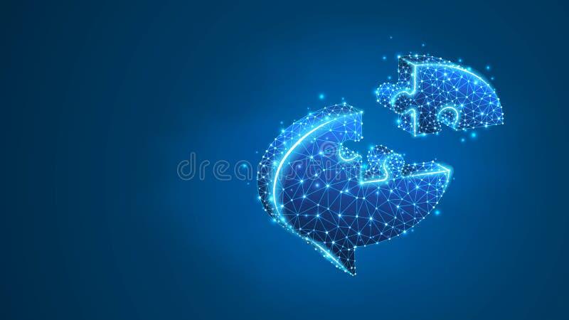 Rompecabezas de la burbuja de la charla Red social, símbolo del diálogo, concepto de la nube de la comunicación Extracto, wirefra ilustración del vector
