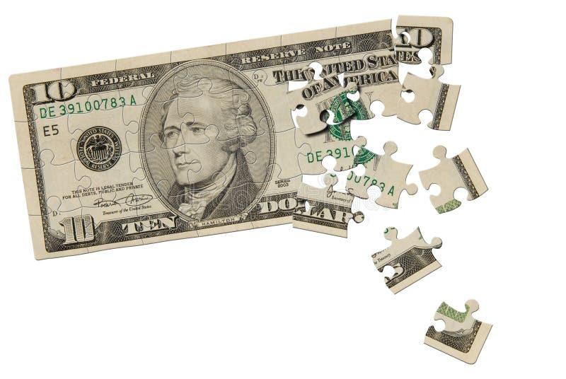 Rompecabezas de la cuenta de dólar diez foto de archivo