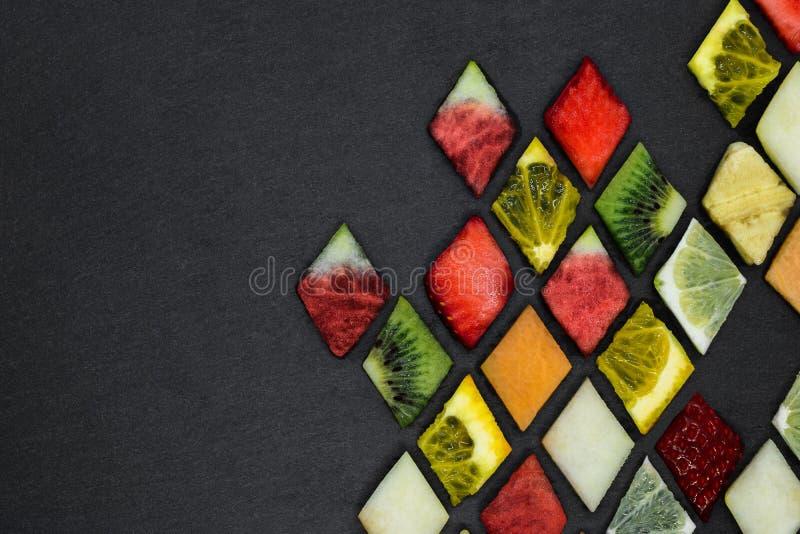 Rompecabezas de la fruta de la forma del diamante foto de archivo libre de regalías