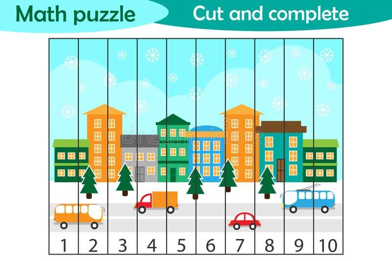 Rompecabezas de la matemáticas, imagen de Navidad con la ciudad nevosa en el estilo de la historieta, juego de la educación para  libre illustration