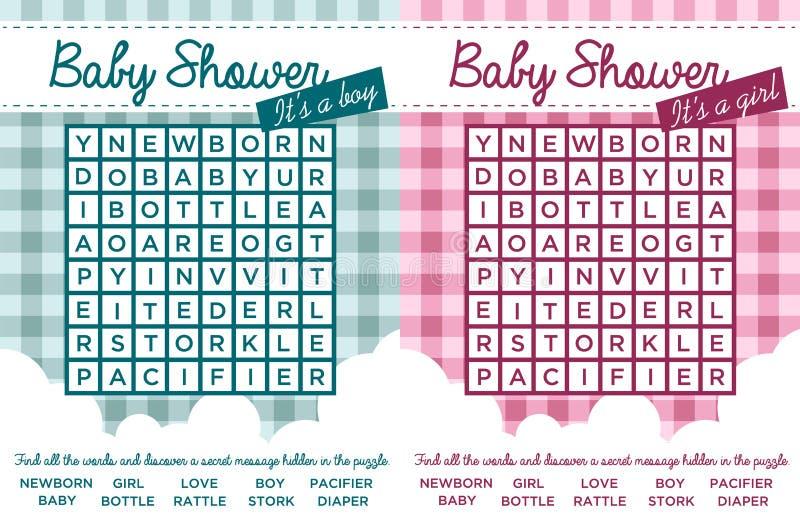 Rompecabezas de la palabra de la fiesta de bienvenida al bebé stock de ilustración