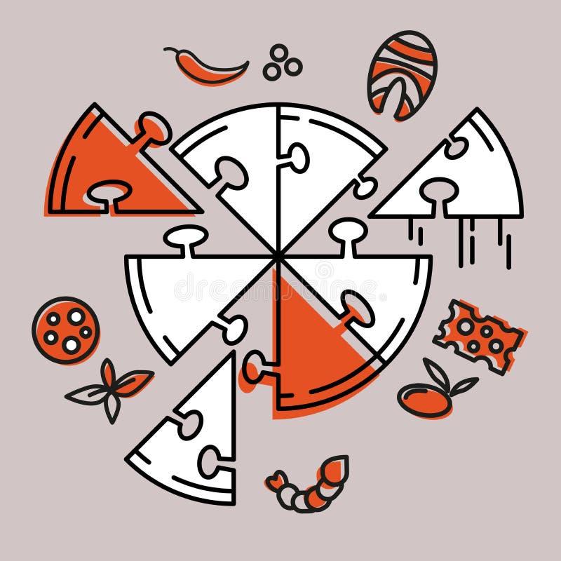 Rompecabezas de la pizza Recoja la pizza usted mismo icono Concepto ilustración del vector