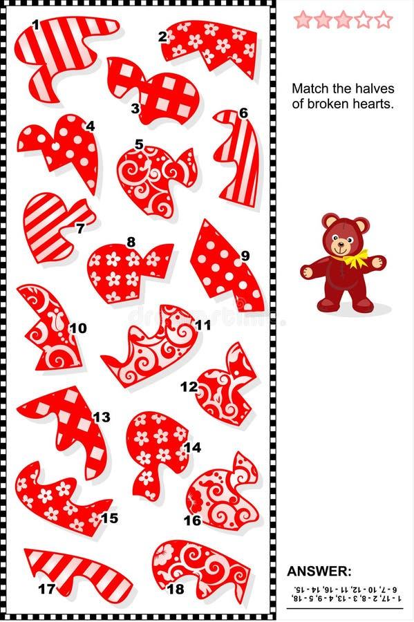 Rompecabezas de la tarjeta del día de San Valentín - haga juego las mitades de corazones quebrados ilustración del vector
