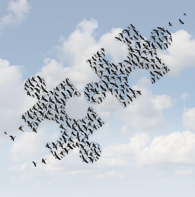 Rompecabezas de los pájaros de vuelo stock de ilustración
