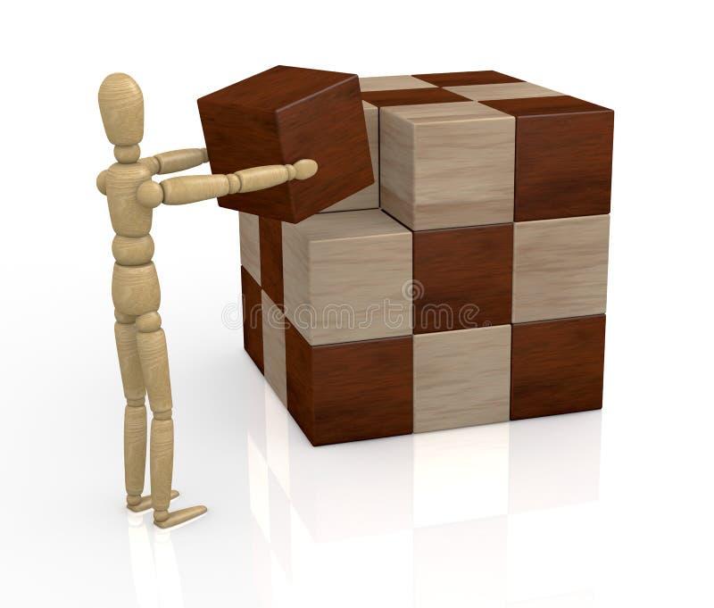 Rompecabezas de madera del cubo stock de ilustración