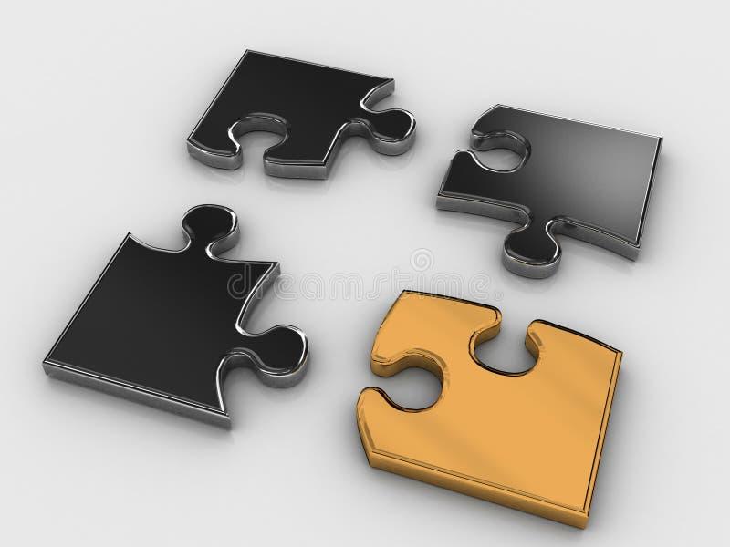 Rompecabezas de oro ilustración del vector