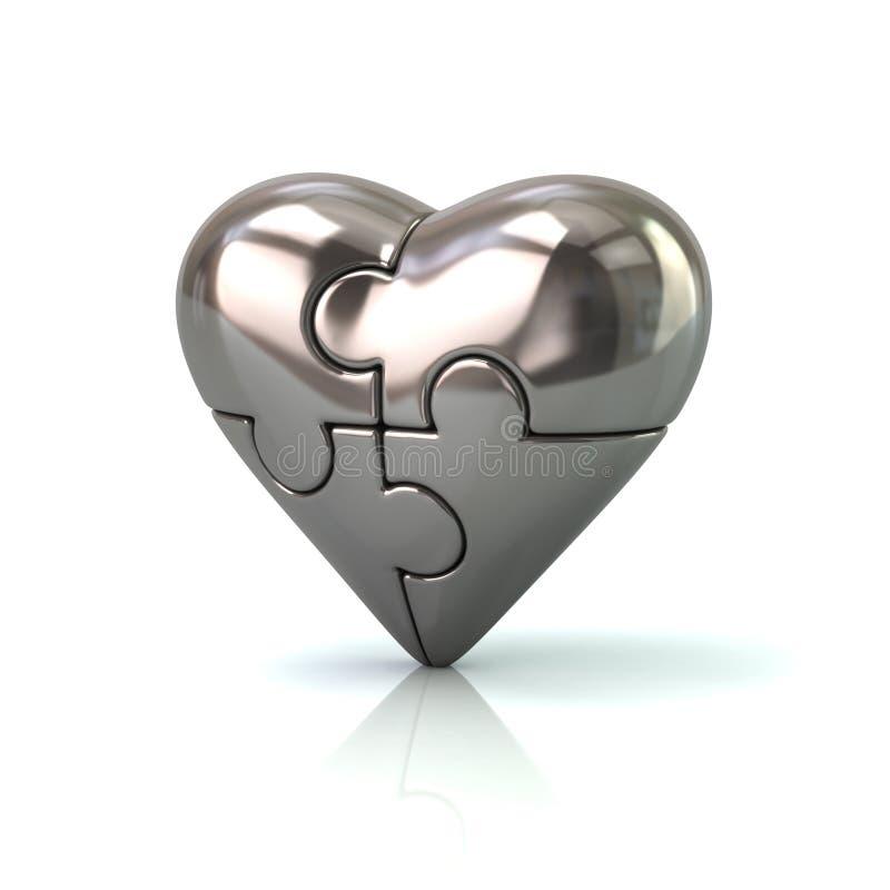 Rompecabezas de plata del corazón 3d stock de ilustración