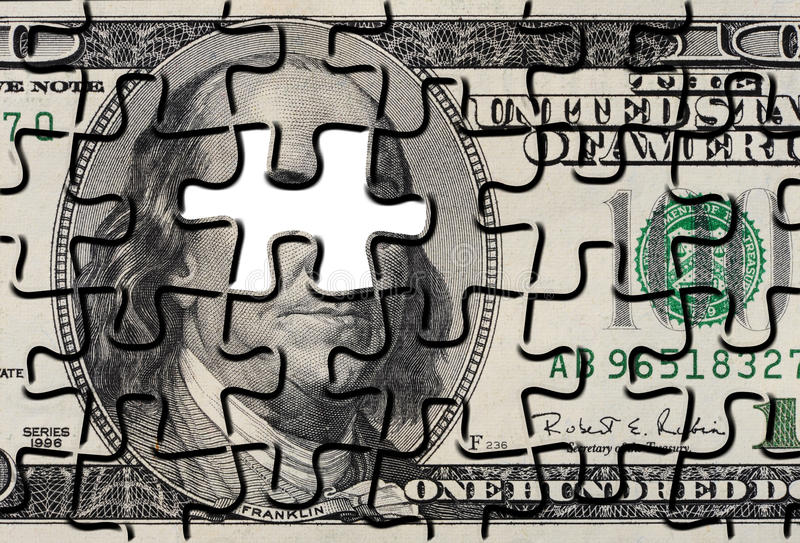 Rompecabezas de rompecabezas de Bill de dólar americano fotos de archivo