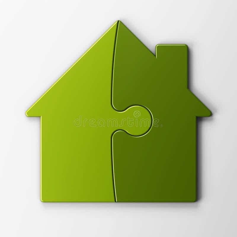 Rompecabezas de rompecabezas de una casa con el camino de recortes ilustración del vector