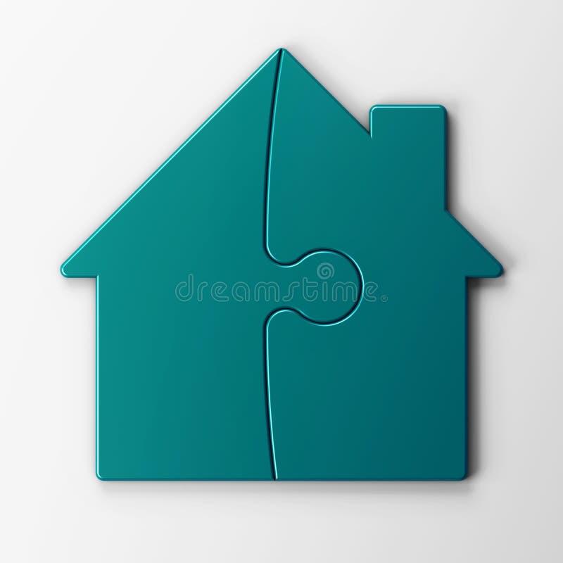 Rompecabezas de una casa con el camino de recortes stock de ilustración