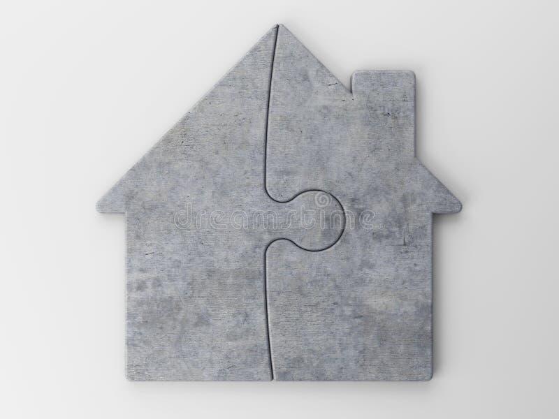 Rompecabezas de una casa con el camino de recortes libre illustration