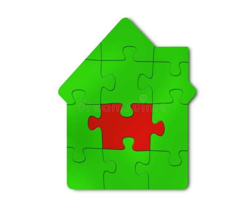 Rompecabezas de una casa verde con la trayectoria de recortes roja de la parte en blanco stock de ilustración