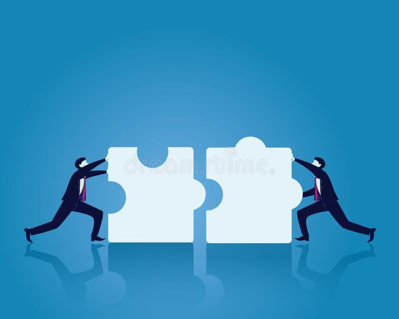 Rompecabezas de Working To Match de dos hombres de negocios junto ilustración del vector