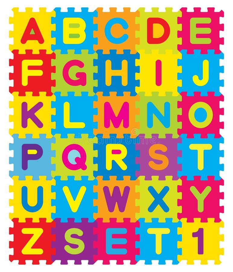 Rompecabezas del alfabeto ilustración del vector