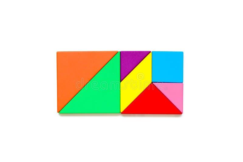 Rompecabezas del rompecabezas chino del color en forma del rectángulo en el fondo blanco imagen de archivo libre de regalías