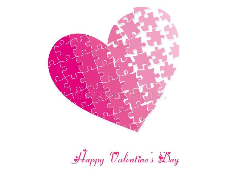 Rompecabezas del corazón de la tarjeta del día de San Valentín stock de ilustración