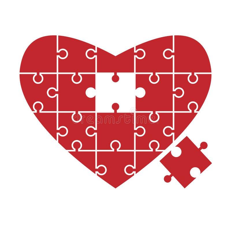 Rompecabezas del corazón, pedazo que falta ilustración del vector