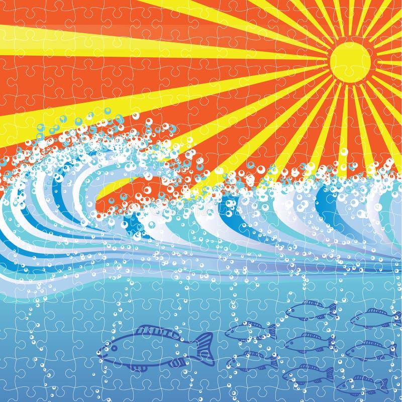 Rompecabezas del fondo del extracto de la onda de agua stock de ilustración
