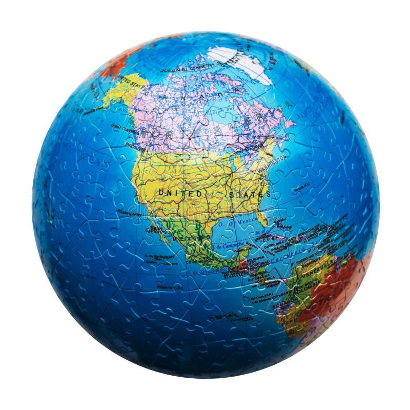 Rompecabezas del globo aislado Correspondencia de Norteamérica Estados Unidos, Canadá, México imagen de archivo libre de regalías