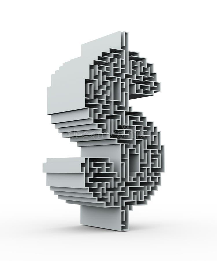 rompecabezas del laberinto del símbolo de la muestra de dólar 3d ilustración del vector