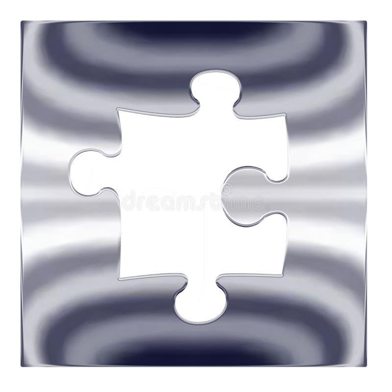 Rompecabezas del metal plateado ilustración del vector