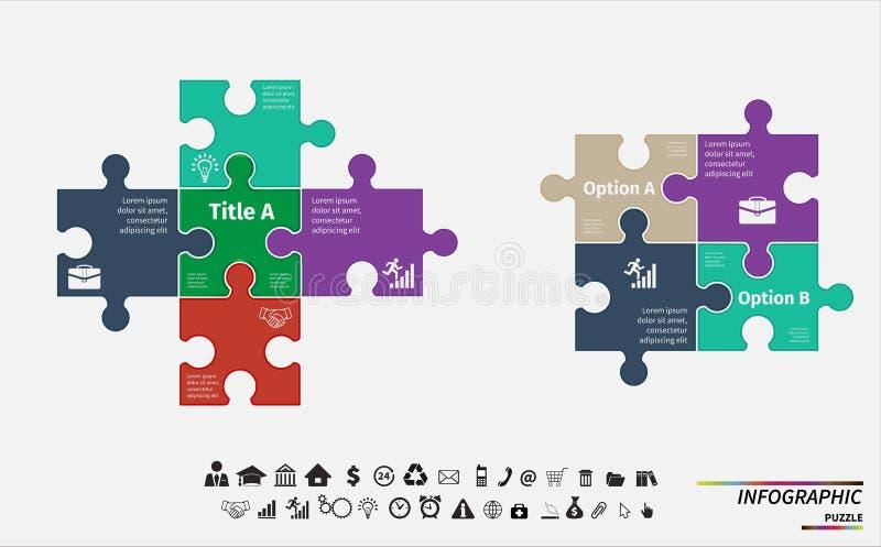 Rompecabezas del vector infographic Plantilla para el diagrama stock de ilustración