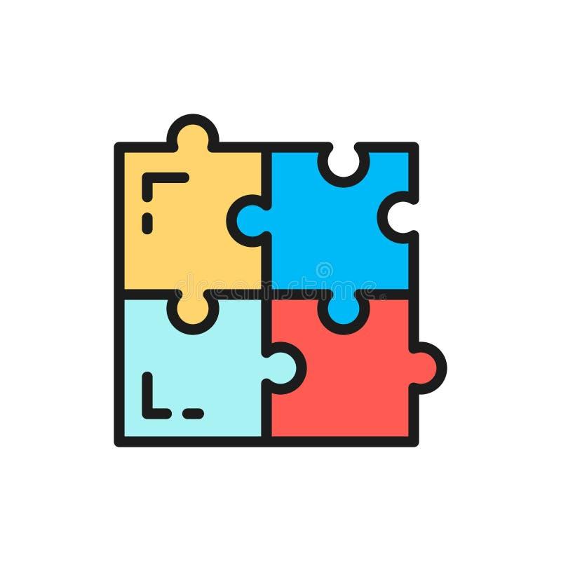Rompecabezas del vector, soluciones simples, línea de color plana de la compatibilidad icono libre illustration