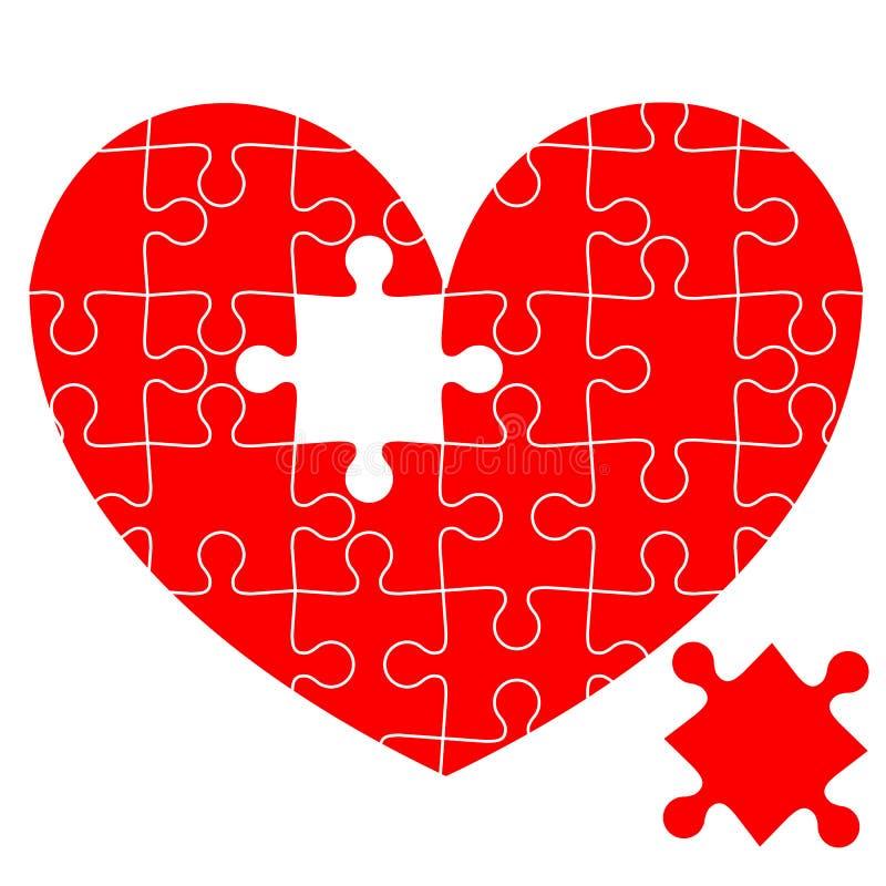 Rompecabezas en el corazón rojo stock de ilustración