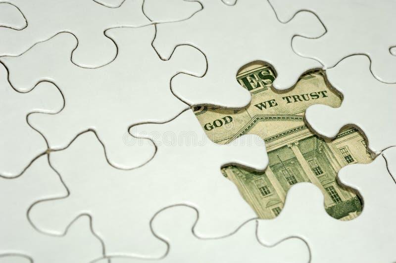 Rompecabezas financiero imagen de archivo