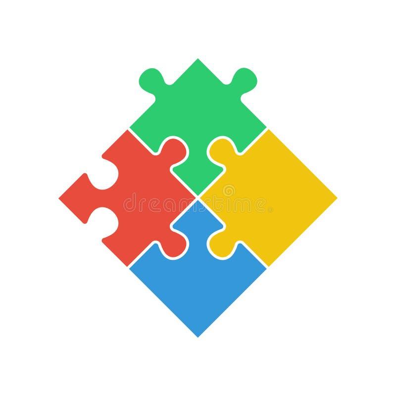 Rompecabezas - icono del vector Sistema del rompecabezas colorido del pedazo cuatro en el fondo blanco ilustración del vector