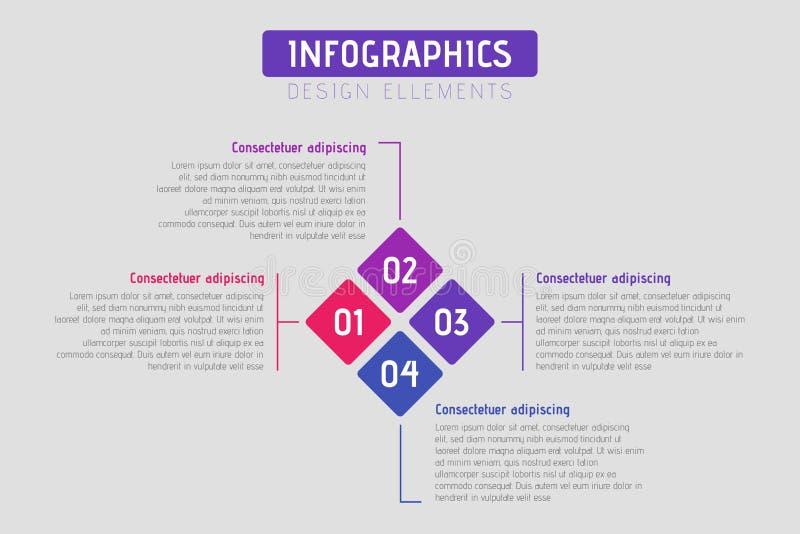 Rompecabezas infographic con 4 opciones, plantilla del Rhombus del negocio del vector para el diagrama, gráfico, presentación, ca libre illustration