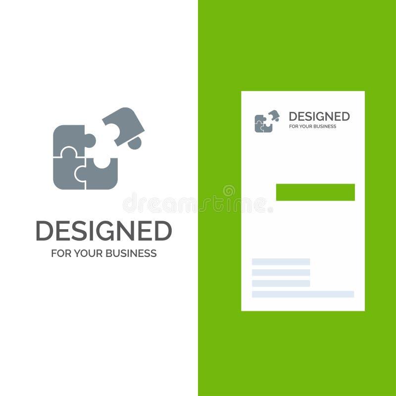 Rompecabezas, negocio, rompecabezas, partido, pedazo, éxito Grey Logo Design y plantilla de la tarjeta de visita ilustración del vector