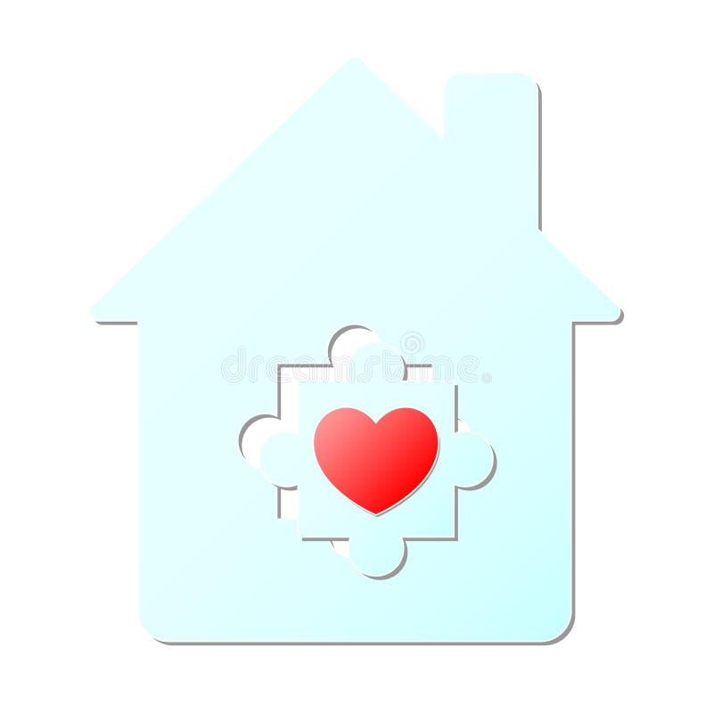 Rompecabezas rojo del corazón en el papel azul claro de la casa que corta arte ilustración del vector