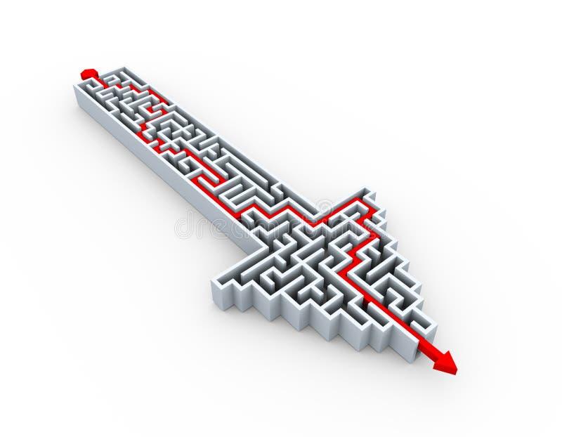 rompecabezas solucionado 3d del laberinto de la forma de la flecha stock de ilustración